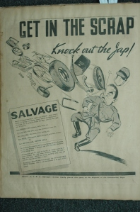 'Every sixteen ounces of salvage are another pound behind the Allied punch - the punch that is going to knock the Nazis and the Japs right out  of business'. Government of Ceylon Department of Information poster, c. 1942.