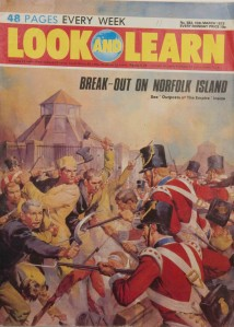"War and empire in British popular culture: British troops suppress an uprising on Norfolk Island, ""Look and Learn"" magazine for children, 1973."