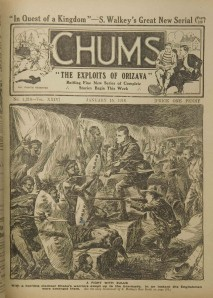 "War and empire in British popular culture: ""A Fight with the Zulus"". Englishmen - looking remarkably like the public school boys that the publication was aimed at - fight Zulu warriors. From ""Chums"", 1916."