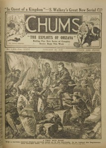"""War and empire in British popular culture: """"A Fight with the Zulus"""". Englishmen - looking remarkably like the public school boys that the publication was aimed at - fight Zulu warriors. From """"Chums"""", 1916."""