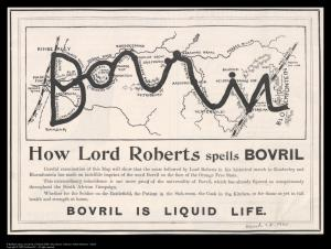 An advertisement for Bovril from 1900, showing how Field Marshal Lord Robert's advance in South Africa during the Anglo-Boer War (allegedly) spelled out the product's name.