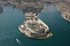 Fort St Angelo at the tip of the Vittoriosa promontory, Grand Harbour, Malta. Constructed by the Knights of St John, it was adopted by the British Army as a fort and, from the 1900s, by the Royal Navy as an administration, communication, and accommodation facility, finally evacuated in 1979 when Britain's military presence in Malta ended.